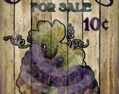 Primitive Autumn Fall Grapes For Sale - 8x10 Instant Folk Art - Card Making -  Instant Download - JPEG - U Print