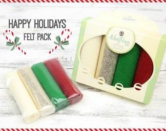 HAPPY HOLIDAYS Felt Pack // Christmas Wool Felt // Christmas Felt // Holiday Variety Pack // Felt Gift Pack
