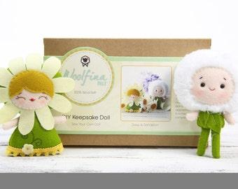 DAISY & DANDELION Doll Kit // Wool Felt Doll Kit // Noialand Doll Kit // diy felt doll // Flower Dolls