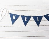 Boy name banner - baby boy gift - boy nursery - baby decor - nursery bunting - baby boy nursery - kids room decor - nursery art