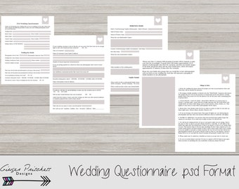 Wedding Photography Questionnaire for Photographers - INSTANT DOWNLOAD