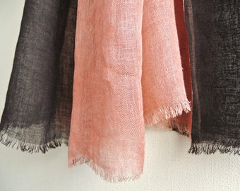 Natural dyed brown and light salmon pink 2colors faced Linen scarf