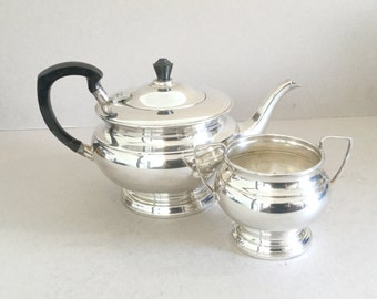 Silver plate tea set, Vintage silver plated teapot, Sugar bowl, Sugar pot, Garrard & Co, Black ebonised wooden handle Finial, Art Deco