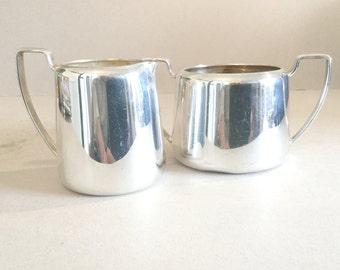 Hotel Style EPNS Sugar Bowl, Silver Plate Creamer Set, Simple Plain Design, Sugar Bowl With Handles, MIlk jug