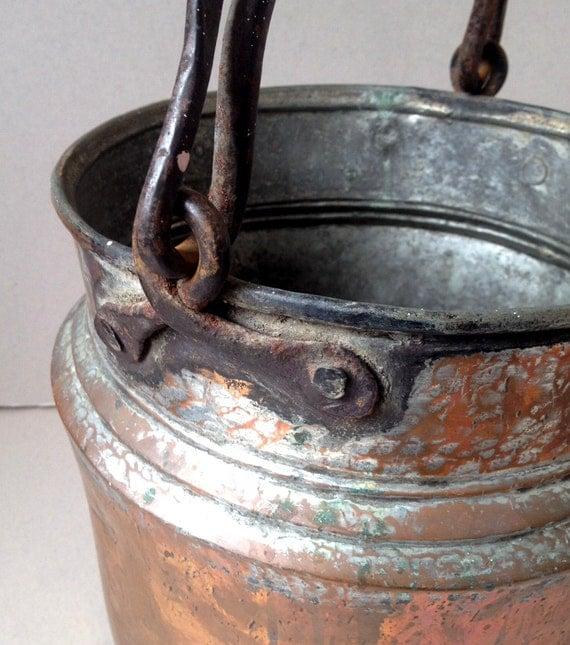 Rustic Copper Pail Pendant Light By Cre8iveconcrete On Etsy: Antique Copper Pot Copper Planter Copper Bucket Tin Bucket