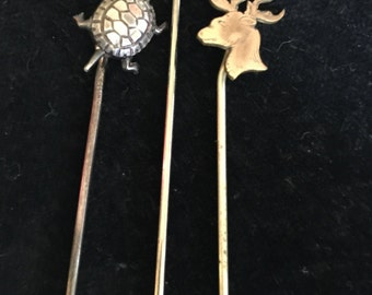 Turtle, Deer, Grasshopper Stick Pins