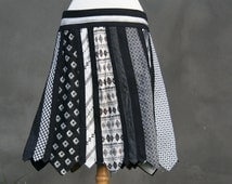 Sale, Necktie skirt, XL size L, US 14/16, UK 16/18, black & white tie skirt, upcycled men's ties, eco friendly woman, Solmode