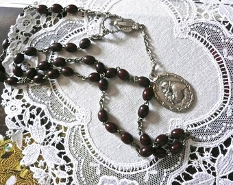 Antique Rosary - Religious Necklace - Caholic Necklace - Burgundy Wooden Beads - St. Anthony Connector Medals - Hand Made In Italy -