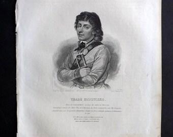 Chodzko Poland 1843 Antique Portrait Print. Thade Kosciuszko