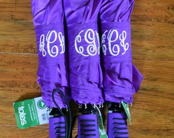 Personalized Monogramed Purple Umbrella, your font choice, Single or Double Monogram Available