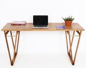 BEECHWOOD COMPUTER DESK, Walnut colour Study Desk,  Original Solid European Beechwood Table, With rustic v Legs, Home Furniture
