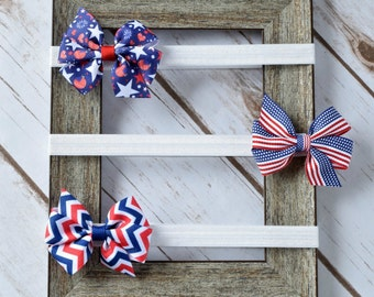 Baby Bow Headband,4th of July Hair Bow,4 inch Hair Bows,Bow Headband,Headbands,Big Baby Headbands, Bow Headbands, Toddler Headbands,400