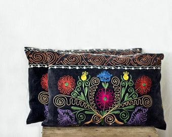 Uzbek suzani pillow, 12x18, SET of TWO, decorative pillow, silk cotton, charcoal velour pillow case, velvet cushion cover, floral needlework