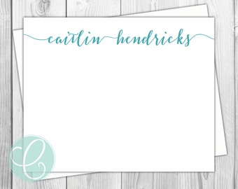 Simple Stationery - Flat Note Cards - Set of 12 - Women's Personalized Stationery - Names Teen College Student