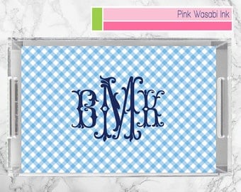 Gingham Tray Monogrammed Acrylic Tray Personalized Lucite Tray Custom Lucite Tray Serving Tray Ottoman Tray Choose Colors