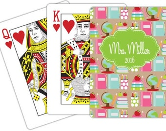 Teacher Appreciation Gift Personalized Playing Cards Monogrammed Playing Cards Custom Card Deck Deck of Cards
