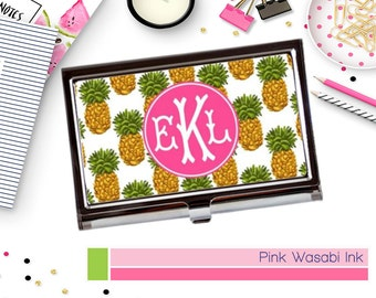 Business Card Holder With Pineapples Monogrammed Business Card Case Personalized Card Holder Custom Card Case