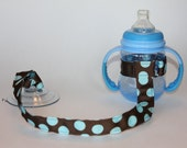 Sippy Cup Leash, Sippy Cup Strap, Baby Bottle Holder, New Baby Gift, Christmas Gift - Blue Dots