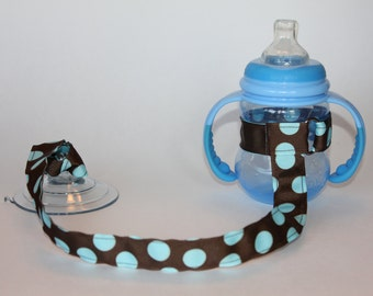 Sippy Cup Leash, Sippy Cup Strap, New Baby Gift, Christmas Gift - Blue Dots