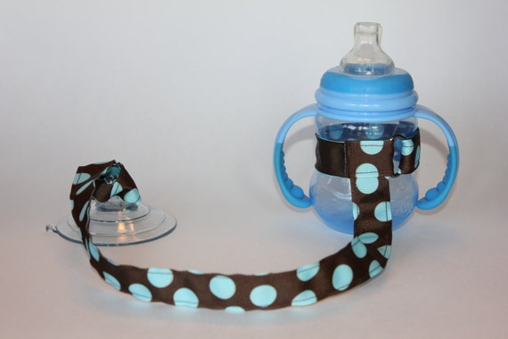 Sippy Cup Leash | Sippy Strap | Sippy Cup Strap Suction Cup | Bottle Tether | Sippy Cup Strap | Suction Sippy Strap | Blue Dot