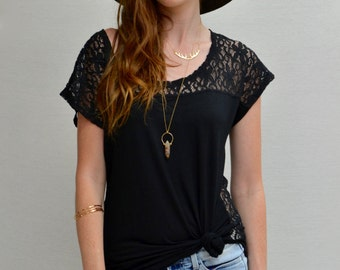 SALE Hi-lo Boxy Top in Black