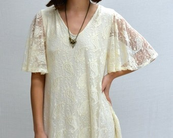 SALE Paisley Bell Sleeves Dress in Ivory