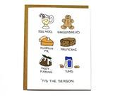 Tis the season, funny Christmas card, holiday food