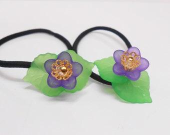 Violet Flower Pony Tail Elastics, Ponytail Accessories, Hair Accessories, Flower Girl Hair Accessory. Hair Elastics,  PT231