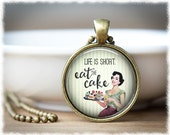 Eat Cake Necklace • Inspirational Jewelry • Best Friend Gift • Life Is Short Necklace • Cupcake Jewelry