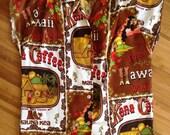 Vintage Hilo Hatties Ladies Hawaiian Aloha Shirt Size Small, Kona Coffee, Mauna Kea, Surfer, Hula Girl, Tropical Theme