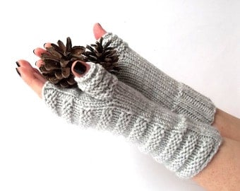 Knit Fingerless Gloves. Light Gray Knit Gloves. Warmer Gloves. Knitted Wrist Warmers. Knit Arm Warmers. Women Gloves.