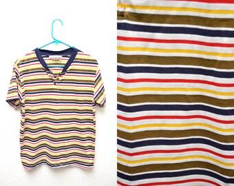 90s Multicolor Striped T-shirt Women's Medium