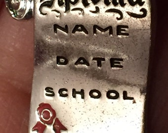 Graduation Gift Charm Bracelet Charm Retro Diploma Charm Sterling Silver Graduation Memento Heavy Silver Charm for Bracelet