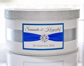 Card box wedding / Wedding Box / Wedding money box with nameplate - silver and cobalt blue