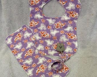 Baby Essentials Set - Baby Bib, Burp Cloth, Pacifier Clip - Big Bunnies