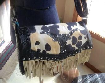 Western longhorn and cowprint suede fringe cross body bag