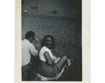 On the Beach, 1940s-50s Vintage Photo Snapshot [64453]