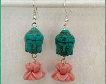 Turquiose Buddha and Lotus Spritual Dangle Earrings