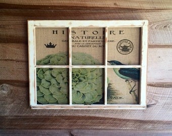Hydrangea with Bird Wall Art, Reclaimed Window Frame, 36W x 27H