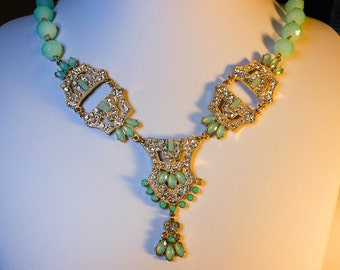 Vintage Runway Bib Necklace   Teal & Crystal Rhinestone  31 Inch with a 3 Inch Extension