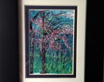 Embroidery, Silk Embroidery, Textile Art,  Embroidered Landscape, Free Motion Embroidery, Stitched Forest Landscape, Redbud Tree Embroidery