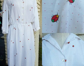 Darling 70s/80s ladybug print cotton dress