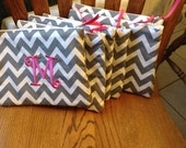 Monogrammed chevron Make up bags,Bridesmaid gifts, for Graduation or birthday items.
