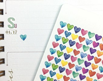 Watercolor Heart Mini Stickers - Planner Stickers, inkWELL Press, Erin Condren, Kikki K, Traveler's Notebook, etc.