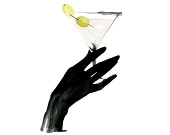 Dirty Martini, print from original watercolor and mixed media fashion illustration by Dena Cooper
