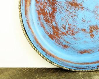 Display Plate - French Blue - Boho Chic - Patina