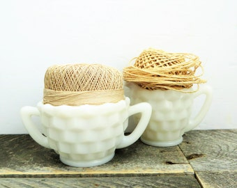 Milk Glass - Creamer and Sugar Bowl - Vintage Kitchen