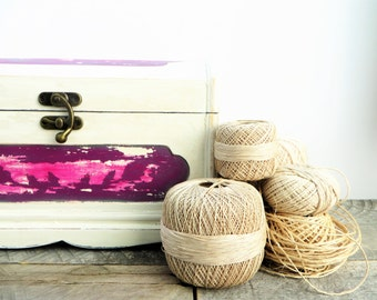 Upcycled Storage Box - Ivory Pink - Memory Box Photo Box - Fresh Rustic Modern Decor