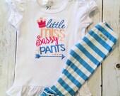 Little Miss Sassy Pants- embroidered ruffle shirt-M2M Sew Sassy Blooming Days- m2m Sew Sassy Peach
