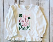 Too Cute To Pinch embroidered ruffle shirt- st patrick's day-M2M Sew Sassy light pink- m2m Sew Sassy shocking pink